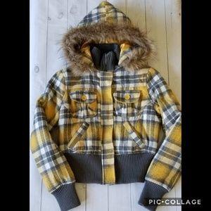 Jou Jou Gold Gray Wool Plaid Faux Fur Trim Coat